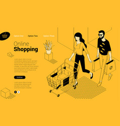 flat design online shopping template vector image