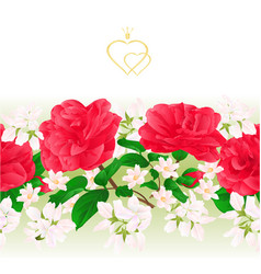 Floral border seamless background with flowers vector
