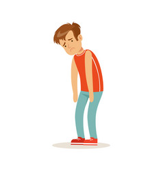 Frustrated sad boy character standing hunched vector