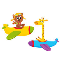 Funny animal pilot characters flying on airplane vector