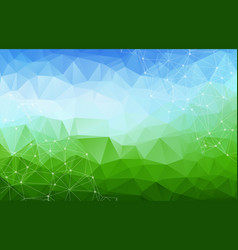 geometric blue and green polygonal background vector image