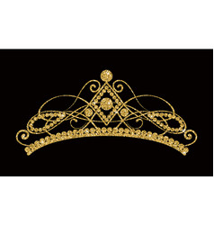 glittering diadem golden tiara isolated on black vector image