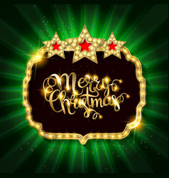 Gold christmas banner with light bulbs vector