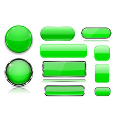 green glass buttons collection of 3d icons vector image
