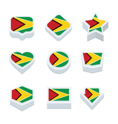 Guyana flags icons and button set nine styles vector