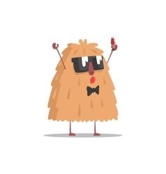 Hairy monster in dark glasses holding glass vector