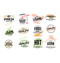 Hand drawn asian food logotypes vector