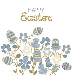 happy easter card with flowers and paschal eggs vector image