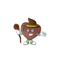 Happy face witch one bite love chocolate cartoon vector