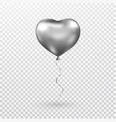 Heart gray balloon on transparent background vector