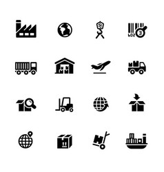 industry and logistics icons vector image
