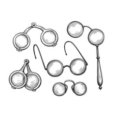 ink sketch set ancient spectacles vector image