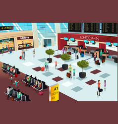 Inside the airport scene vector