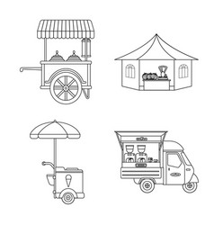 isolated object of market and exterior icon set vector image