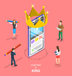 isometric flat concept content is king vector image