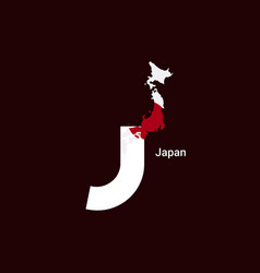 japan initial letter country with map and flag vector image