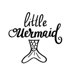Little mermaid lettering design vector