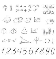 Mathematical signs and symbols hand drawn vector