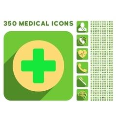 Medicine Icon and Medical Longshadow Icon Set vector image