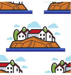 montenegro landscape seamless pattern traveling vector image