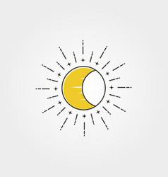 Moon with sun creative logo icon symbol design vector
