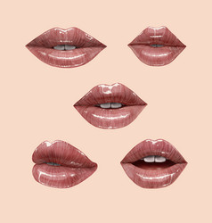 nude lips set vector image