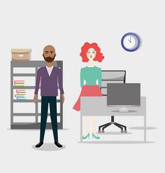 office coworkers cartoons vector image