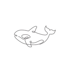 one continuous line drawing cute orca vector image