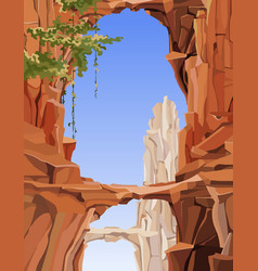Painted landscape of rocky mountains with arches vector