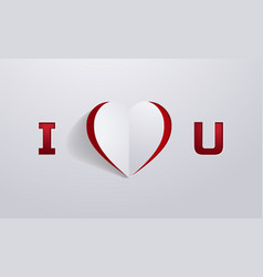 Paper art i love you background cutout style vector