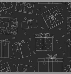pattern with gift boxes on black background vector image