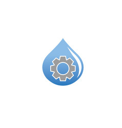 pinion gear inside a drop of water for logo design vector image