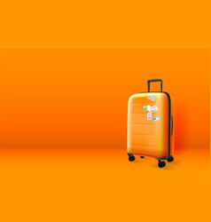 plastic suitcase on orange background copyspace vector image
