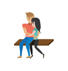 Portrait couple sitting romantic image vector