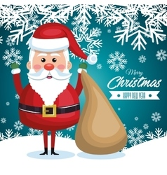 Postcard with santa claus and bag gift snowflake vector