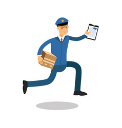 Postman in blue uniform with clipboard running vector