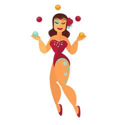 Prestidigitator woman juggling with balls in vector