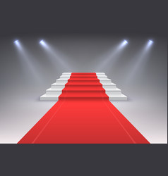 realistic red carpet vip spotlight event stairs vector image