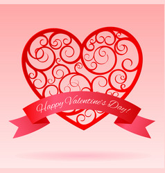 Red decorative paper hearts with banner vector