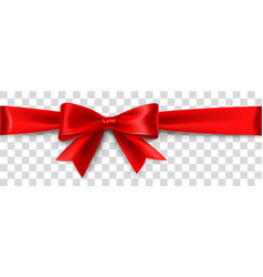 Red satin bow isolated on background vector