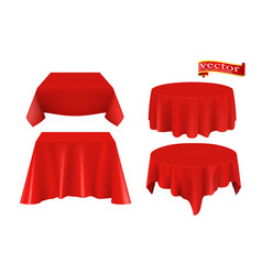 red silk cloth covered table realistic set vector image
