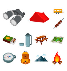 rest in the camping cartoon icons in set vector image