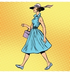 retro lady in summer dress and hat vector image