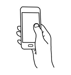Right hand holding smartphone with blank space vector