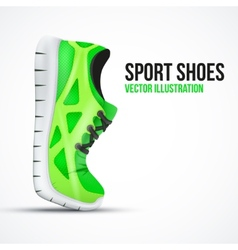 Running curved green shoes Bright Sport sneakers vector image