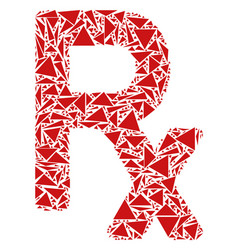 Rx symbol mosaic of triangles vector