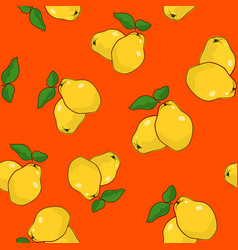 Seamless pattern quince on orange background vector