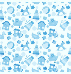 Seamless pattern with baby boy toys vector