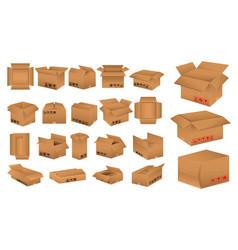 Set cardboard box mockup vector