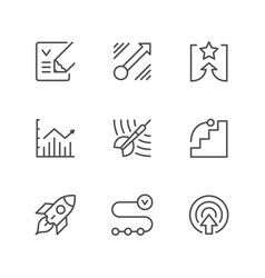 set line icons of goal vector image